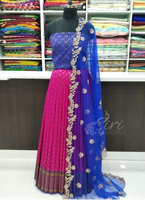 Beautiful Banarasi Silk Lehenga with Blouse Fabric and Cut Work Dupatta
