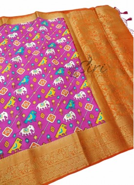 Beautiful Banarasi Silk Saree in Ikat Prints