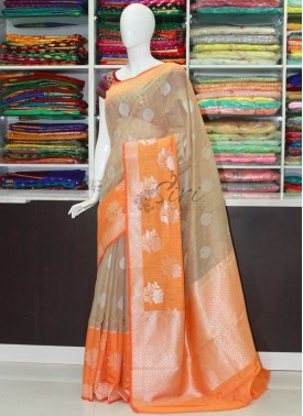 Beautiful Banarasi Soft Jute Saree in Woven Butis and Rich Pallu