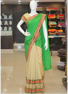 Beautiful Beige Chanderi and Green Georgette Patli Pallu Saree