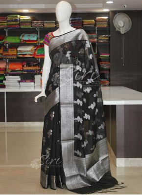 Beautiful Black Banarasi Saree in Silver Zari