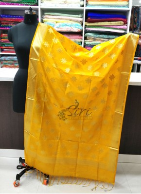 Beautiful Yellow Banarasi Silk Dupatta