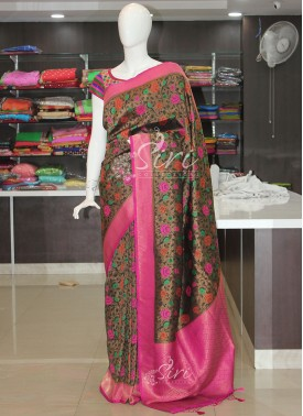 Beautiful Black Banarasi Soft Silk Saree in Multi Colour Butis