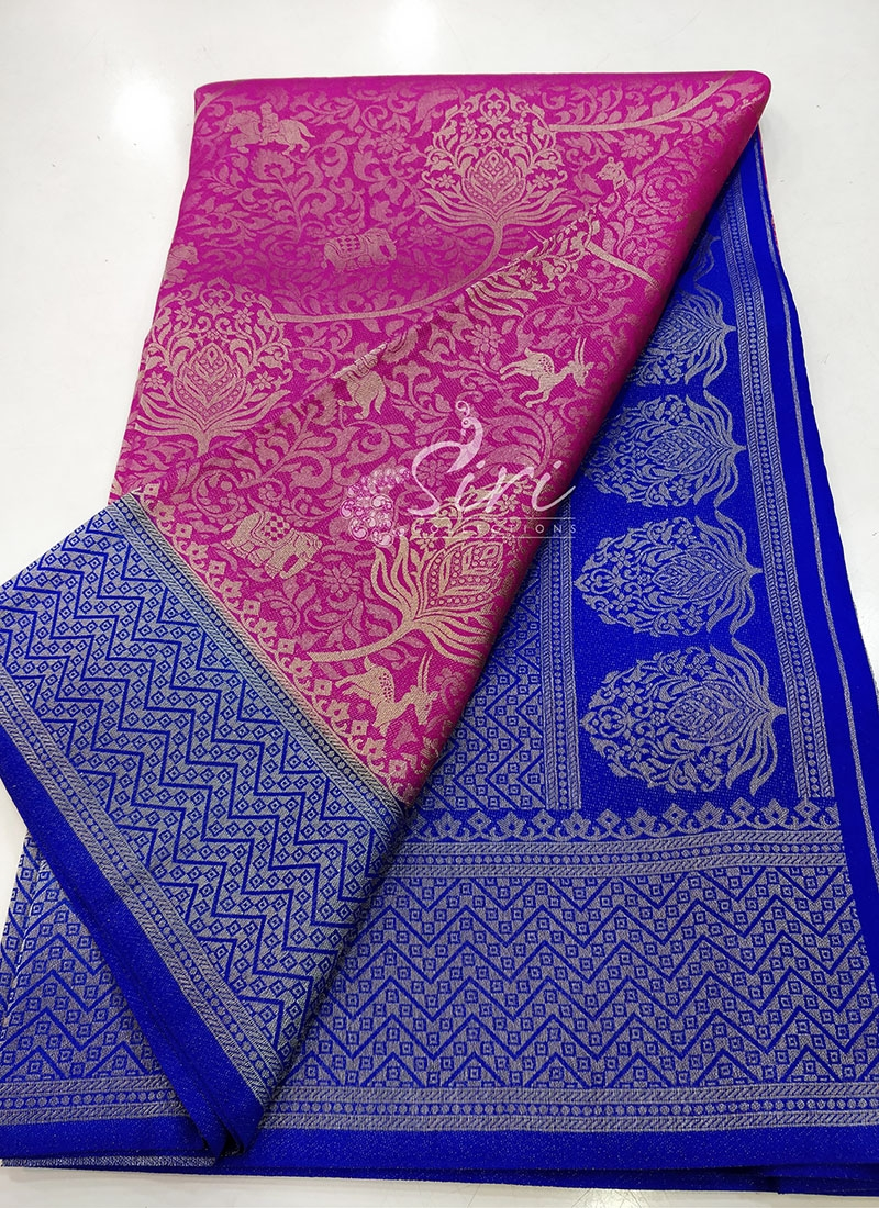 Beautiful Banarasi Soft Silk Saree in Pink and Blue