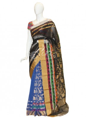 Beautiful Black Blue Chanderi Silk Saree in Patli Style