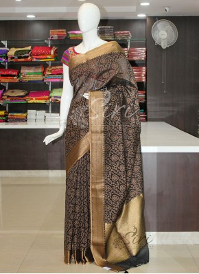Beautiful Black Brown Cotton Silk Saree
