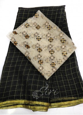 Beautiful Black Fine Chiffon Saree in Zari Checks