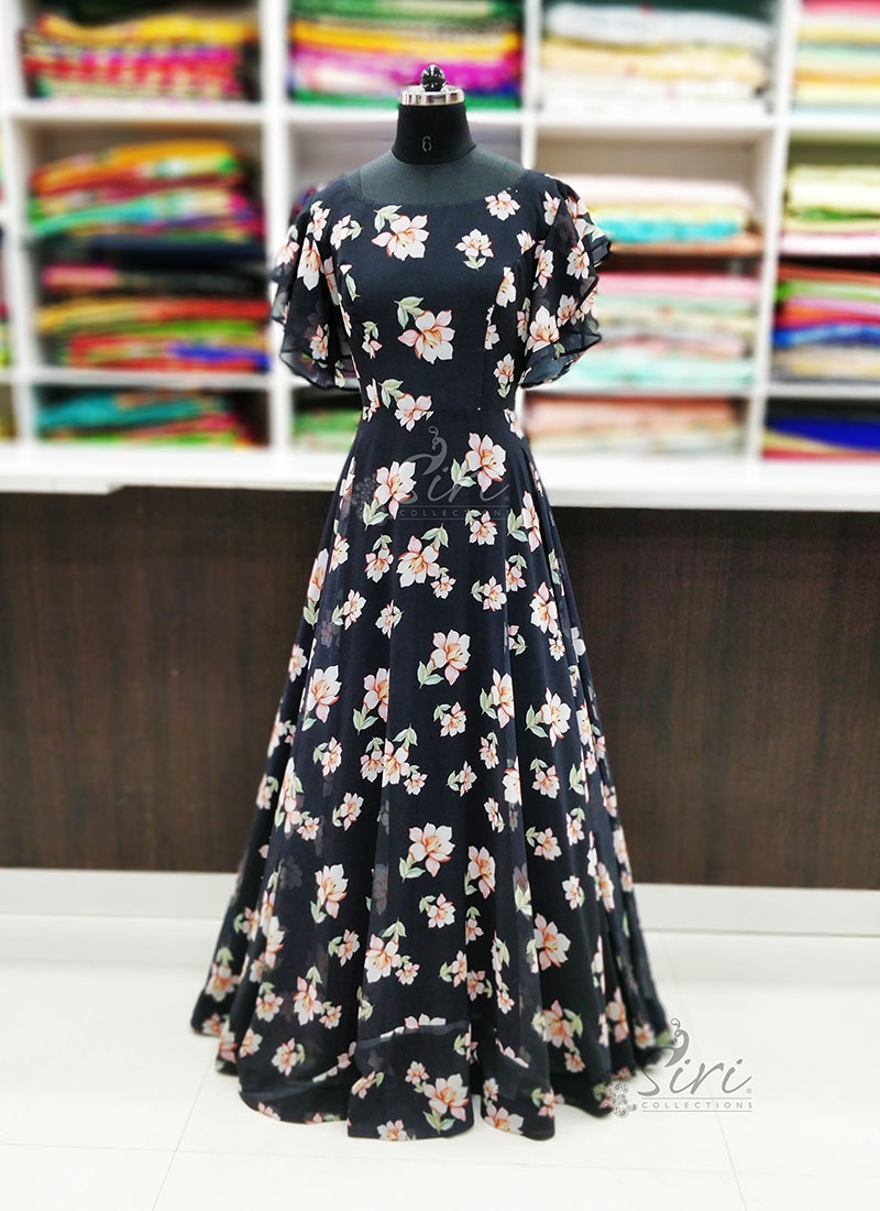 Beautiful Black Floral Design Georgette Long Frock in Digital Print