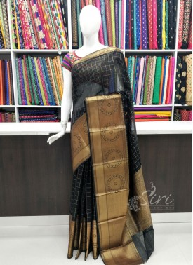 Beautiful Black Gold Cotton Silk Saree