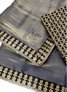 Beautiful Black Gold Tissue Crepe Designer Party Wear Saree