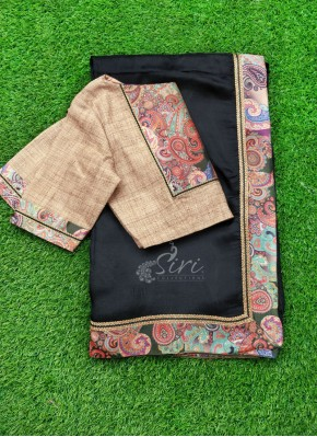 Beautiful Black Jute Silk Saree with Designer Patterned Blouse