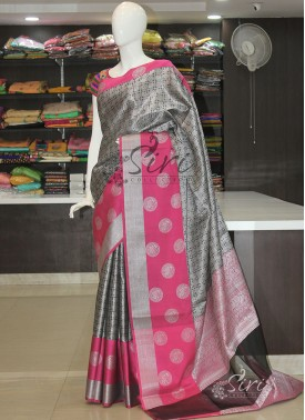 Beautiful Black Magenta Banarasi Kora Saree in Silver Tanchoi Weave