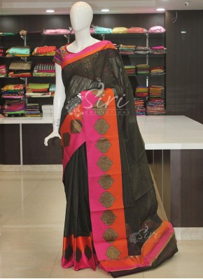 Beautiful Black Orange Pink Cotton Silk Saree in Self Stripes