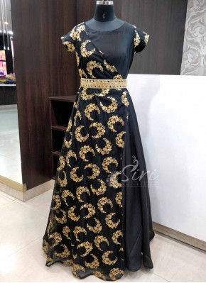 Beautiful Black Trendy Long Frock With Gold Cut Work Belt