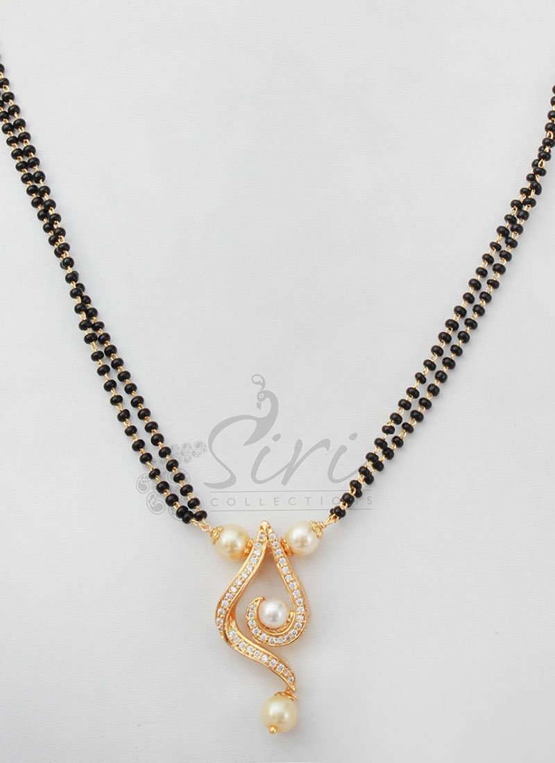 Beautiful BlackBeads Mangalsutra in Pearl and AD Stone Pendant