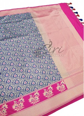 Beautiful Blue and Pink Banarasi Silk Saree in Sil