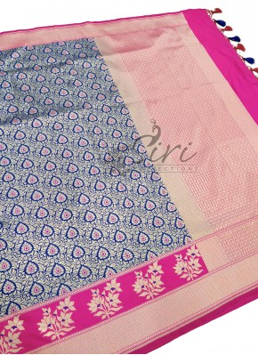 Beautiful Blue and Pink Banarasi Silk Saree in Silver Zari