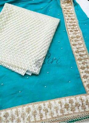 Beautiful Blue Burfi Silk Saree in Pearl Work