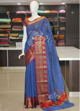 Beautiful Blue Cotton Silk Saree in Self Stripes