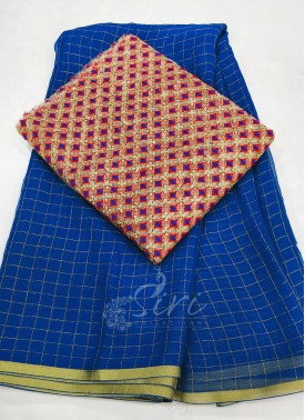 Beautiful Blue Fine Chiffon Saree in Zari Checks