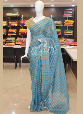 Beautiful Blue Gold Small Checkered Design Georgette Saree