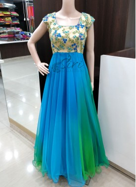 Beautiful Blue Green Shaded Silky Net Long Frock