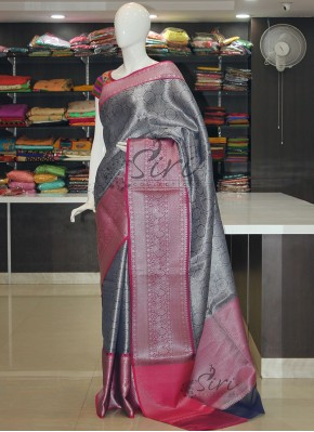 Beautiful Blue Magenta Banarasi Kora Saree in Silver Tanchoi Weave