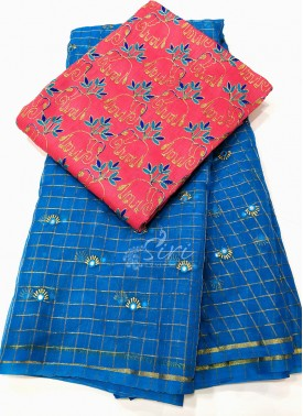 Beautiful Blue Organza Saree with Designer Blouse Fabric
