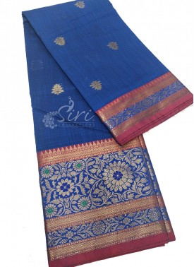 Beautiful Blue Saree in Rich Borders