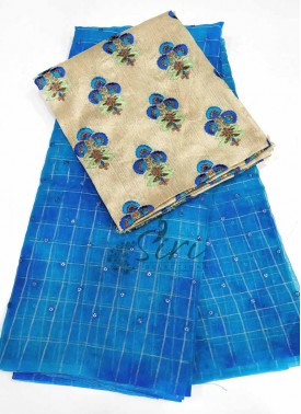 Beautiful Blue Shibori Organza Saree with Sequins Work Buti