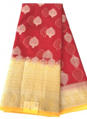 Beautiful Bright Red Banarasi Kora Saree in Buti Design and Contrast Border