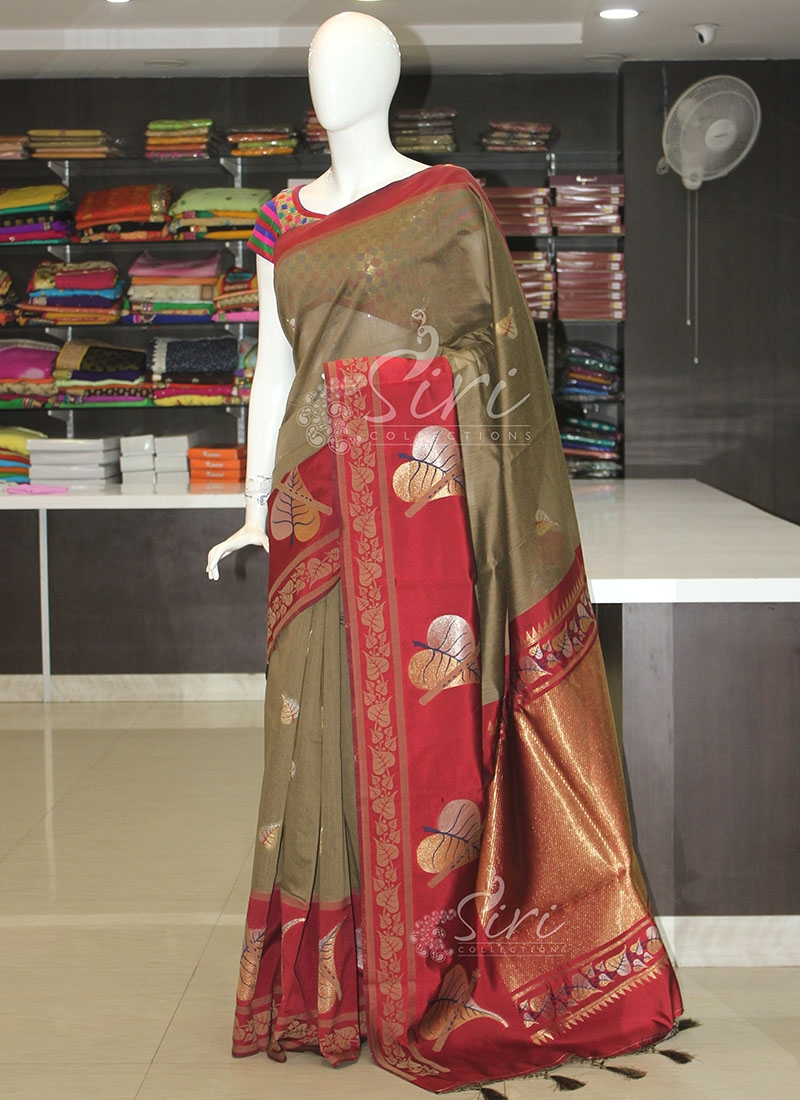 Beautiful Brown Maroon Cotton Saree