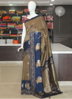 Beautiful Brown Navy Blue Cotton Silk Saree