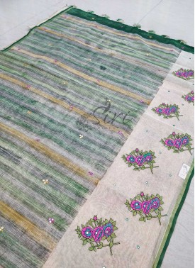 Beautiful Brush Paint Fancy Saree with Embroidery and Mirror Work