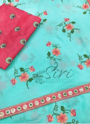 Beautiful Cyan Chinon Saree in Embroidery Work
