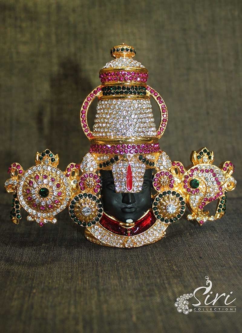 Beautiful CZs Studded Gold Plated Lord Balaji Idol