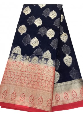 Beautiful Dark Navy Blue Banarasi Kora Saree in Buti Design and Contrast Border