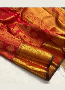 Beautiful Dark Red Pure Kanchi Pattu Saree