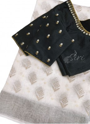 Beautiful Designer HandWork Blouse with Pure Linen Saree