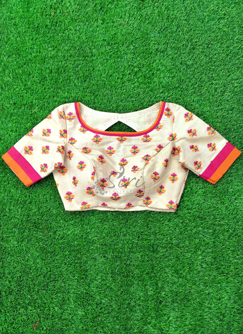 Beautiful Designer Patterned Blouse in Soft Cotton Jute Tissue