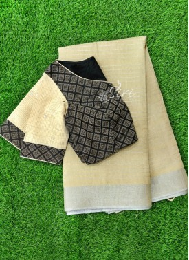 Beautiful Designer Patterned Blouse with Fancy Linen Saree