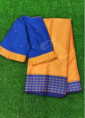Beautiful Designer Patterned Blouse with Mercerized Cotton Saree