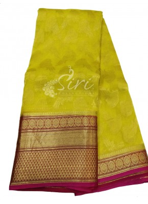 Beautiful Designer Pure Kanchi Organza Handloom Silk Saree in Allover Bird Design