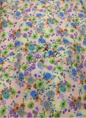 Beautiful Digital Floral Print on Satin Fabric Per Meter