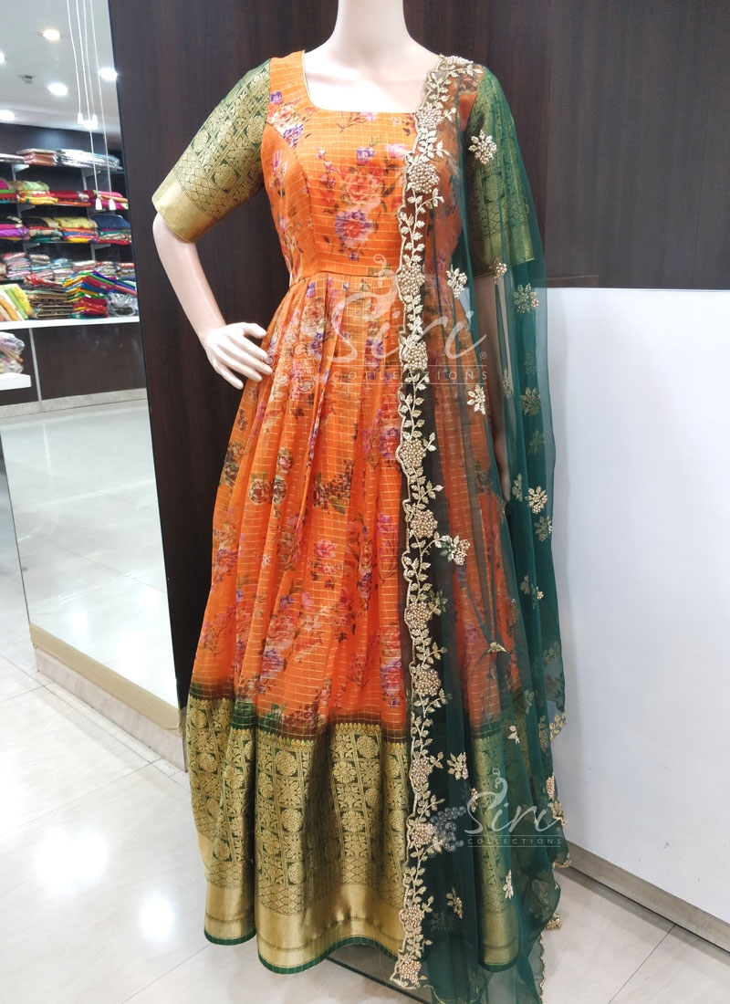 Beautiful Digital Print Organza Long Frock in Kanchi Style Borders