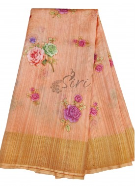 Beautiful Digital Print Soft Jute Saree in Mukesh Work