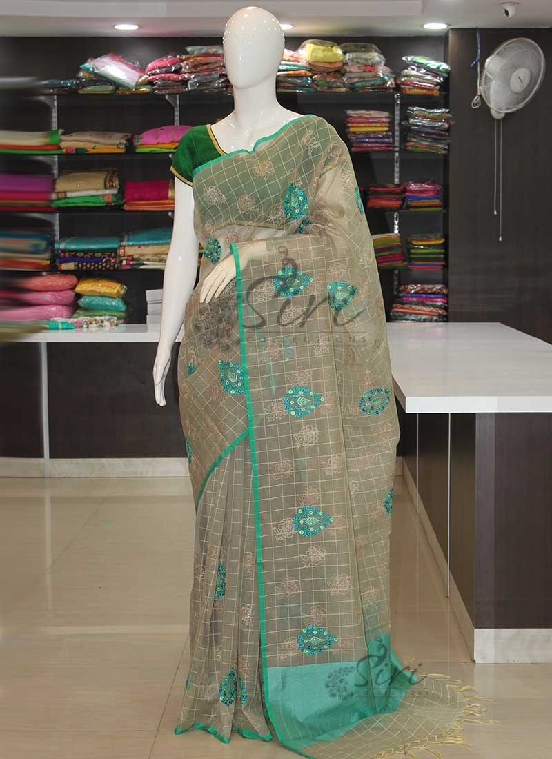 Beautiful Dusky Shade Organza Saree in Embroidery Work
