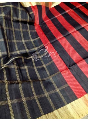 Beautiful Elegant Pure Raw Silk Pattu Saree in Zari Checks