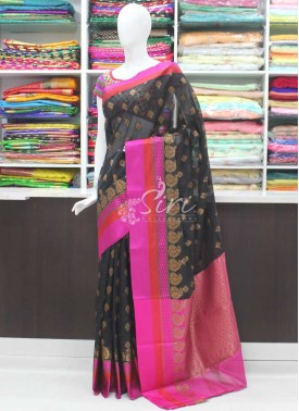 Beautiful Fancy Banarasi Cotton Silk Saree in Satin Finish Borders