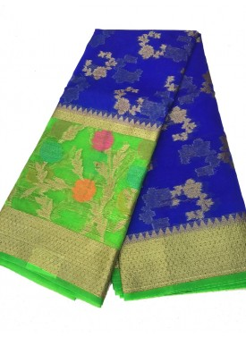 Beautiful Fancy Banarasi Kora Saree in Contrast Border